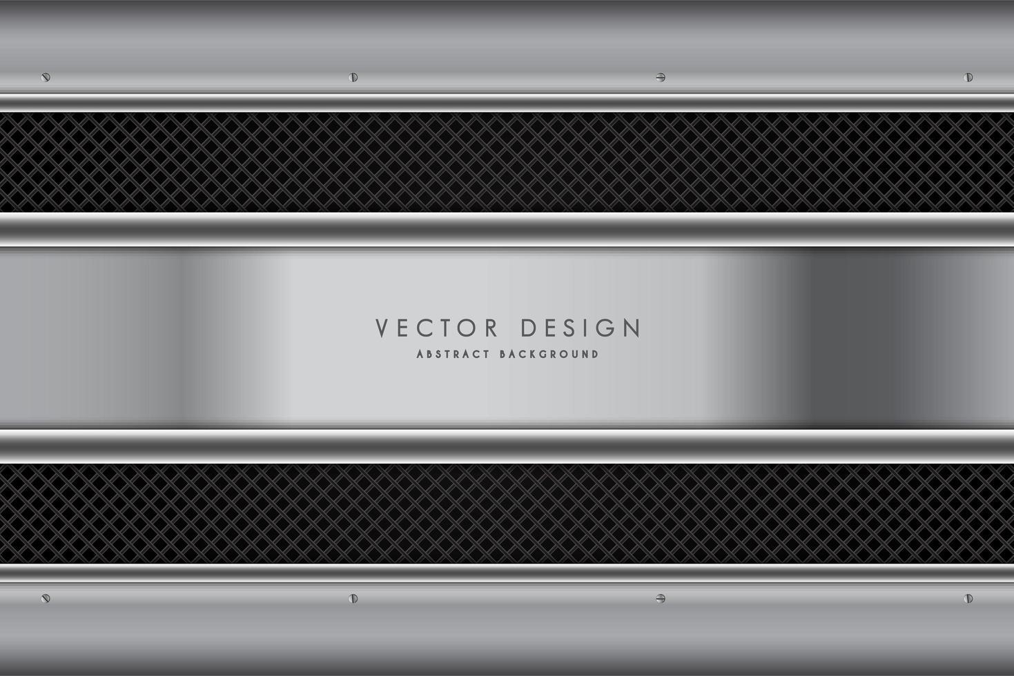 Fondo metálico gris oscuro con tiras de fibra de carbono. vector