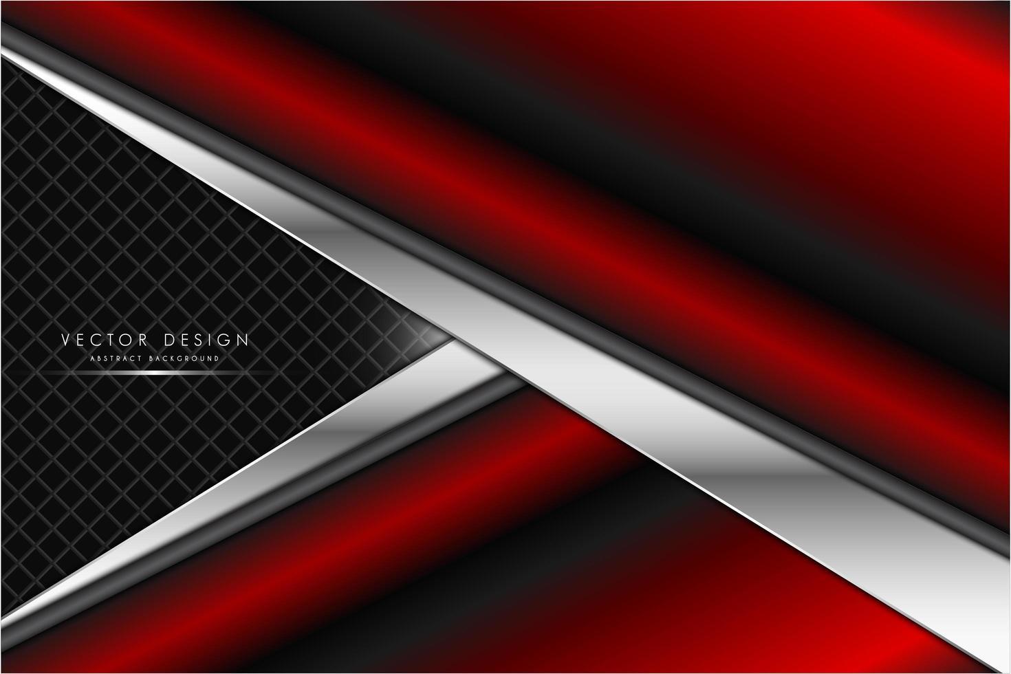 Textura metálica roja y plateada en forma de flecha. vector