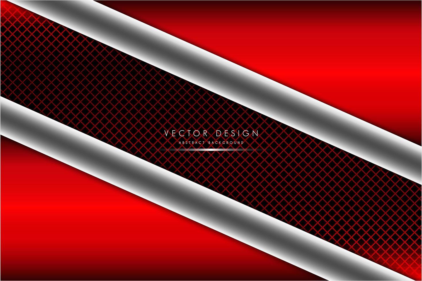 Fondo metálico rojo y plateado con fibra de carbono. vector