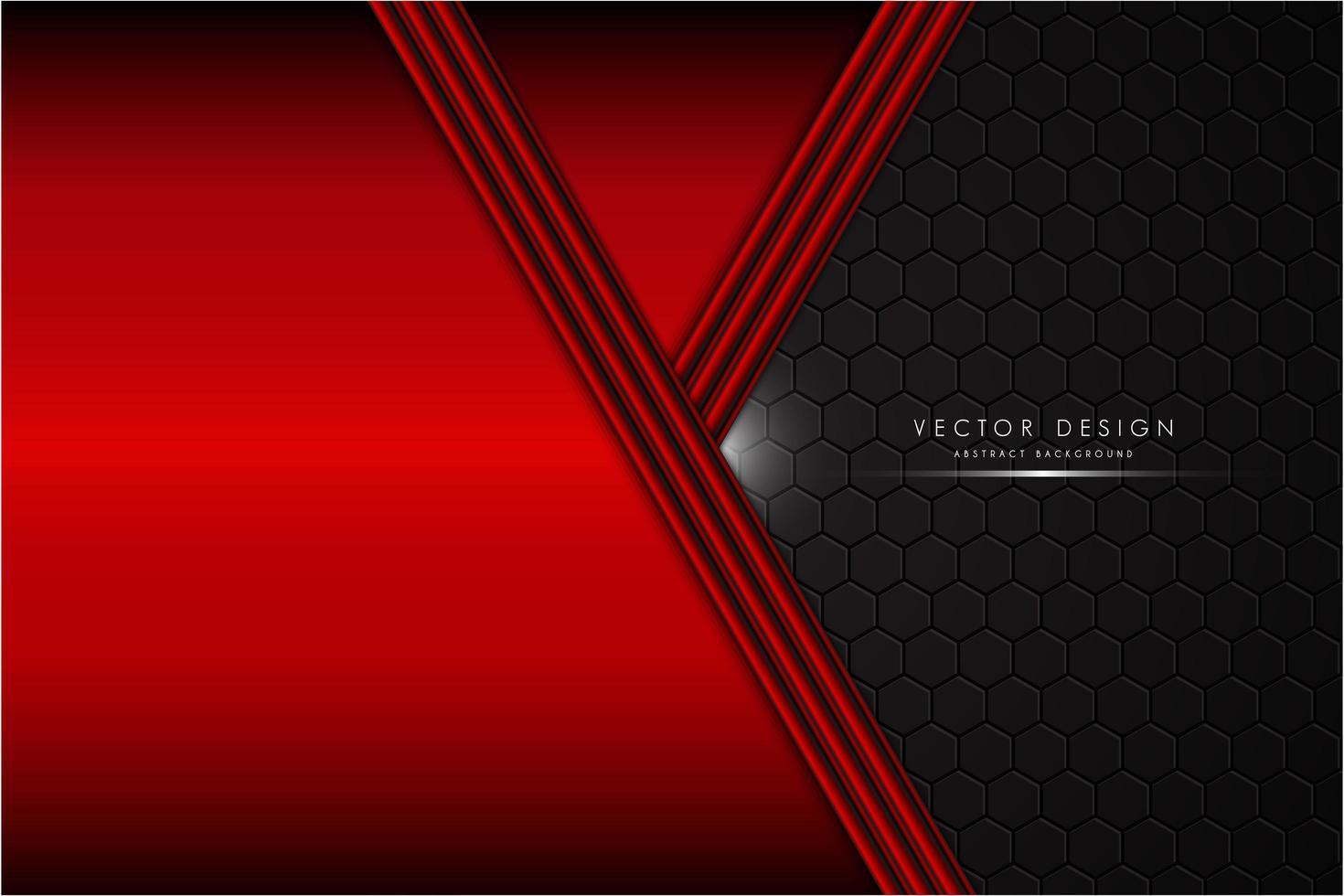 Fondo rojo metálico con espacio negro de fibra de carbono vector