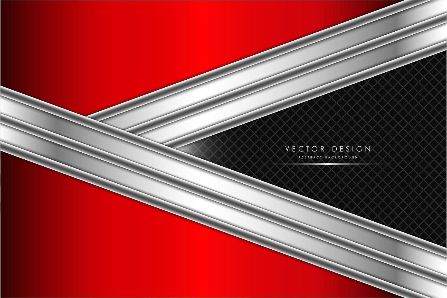 Fondo de forma de flecha metálica roja y plateada vector