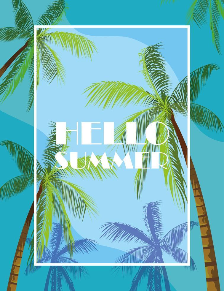 palmeras tropicales y hola diseño de verano vector