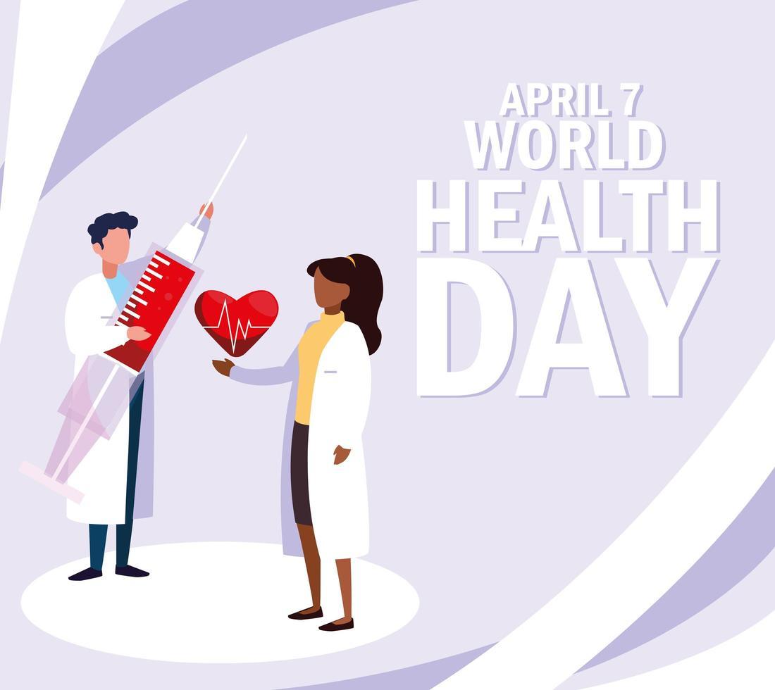 cartel del día mundial de la salud con médicos vector