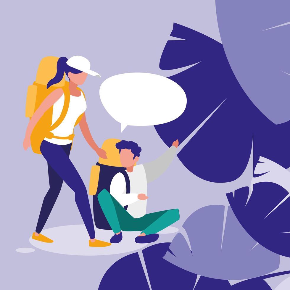 pareja joven hablando en el paisaje vector