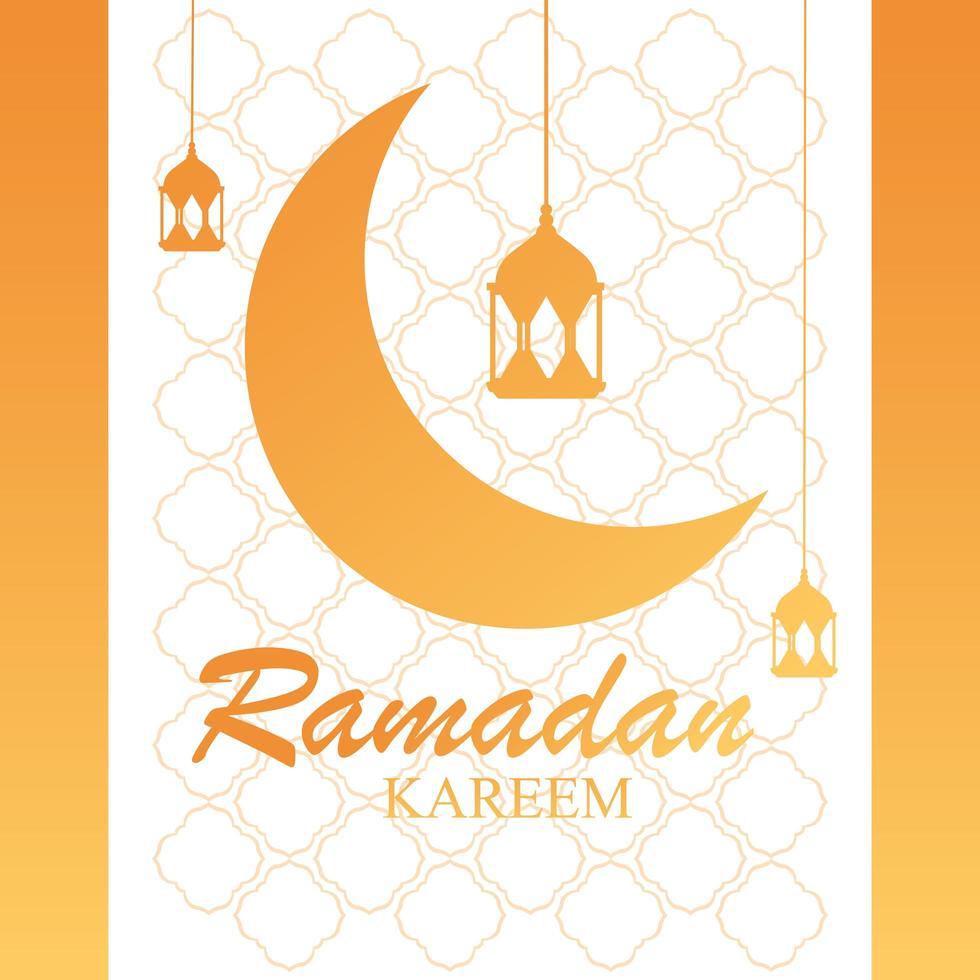 Ramadán kareem luna diseño tradicional con lámparas colgantes. vector