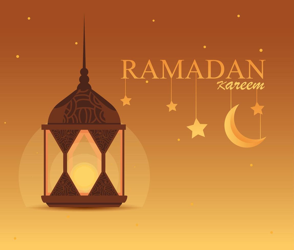 Ramadán kareem lámpara colgante de diseño tradicional. vector