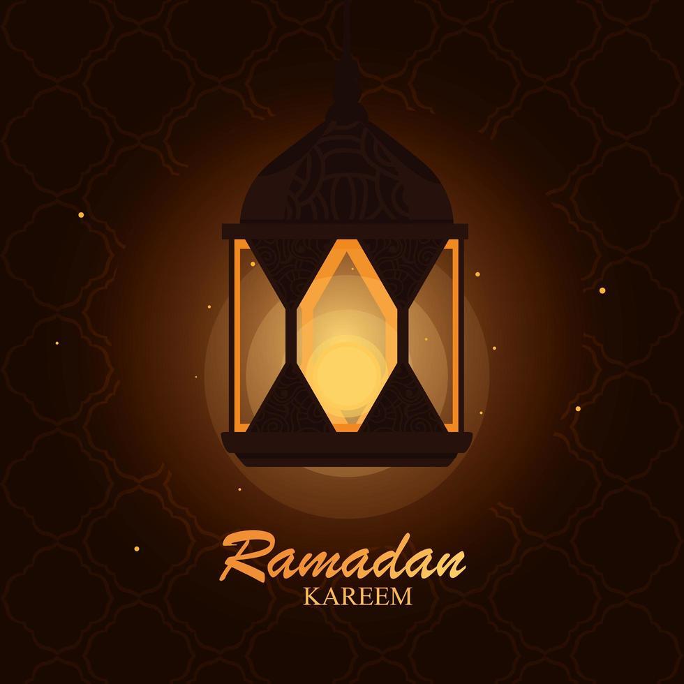 tarjeta de lámpara colgante de ramadan kareem vector