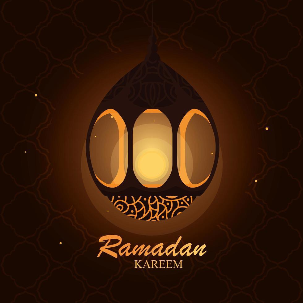 Ramadan Kareem hanging lamp card vector