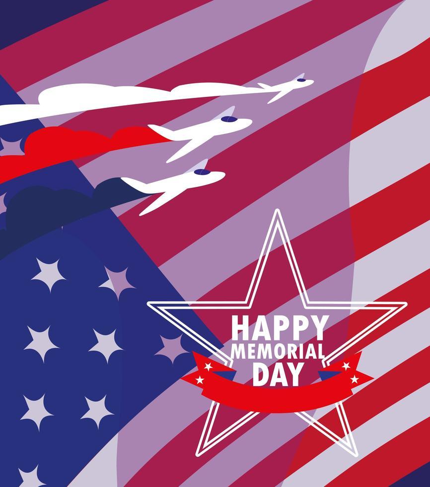 feliz día de los caídos con la bandera de estados unidos vector