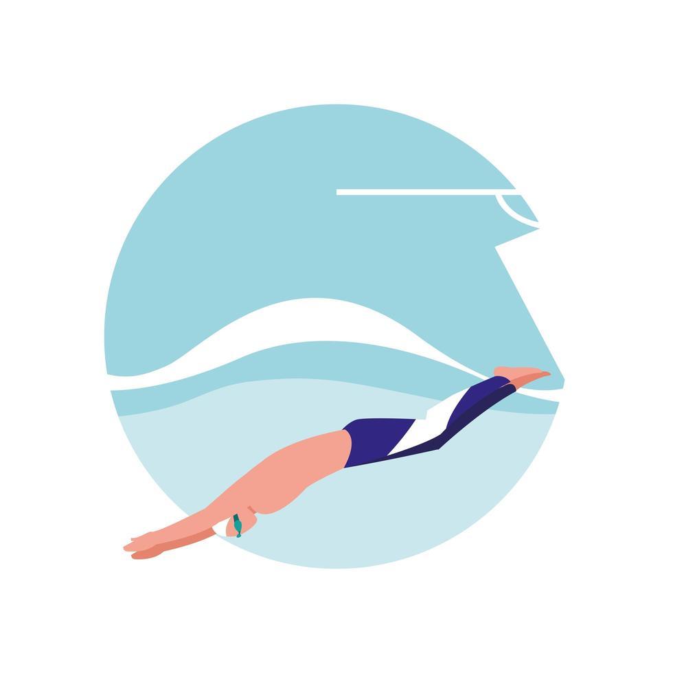 hombre practicando natación avatar personaje vector