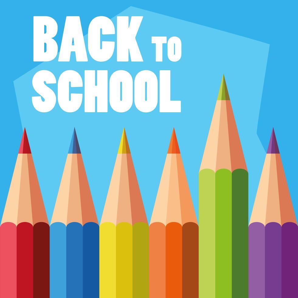 juego de lápices de colores de regreso a la escuela vector