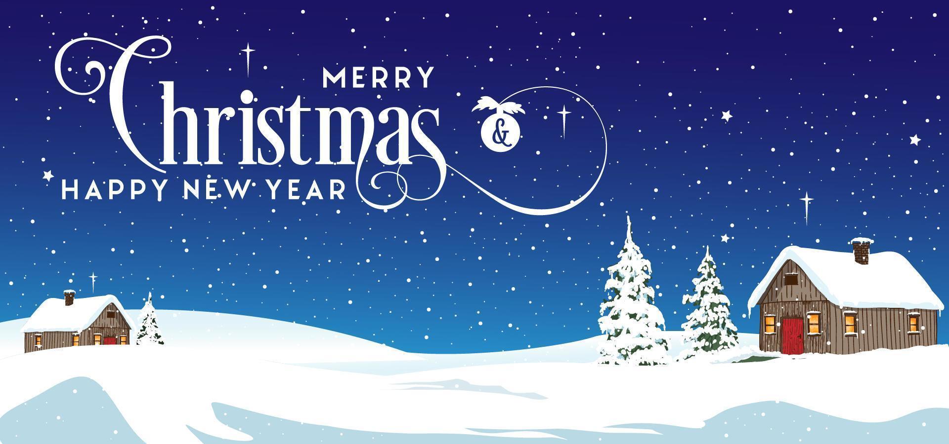 casas de navidad paisaje de invierno vector