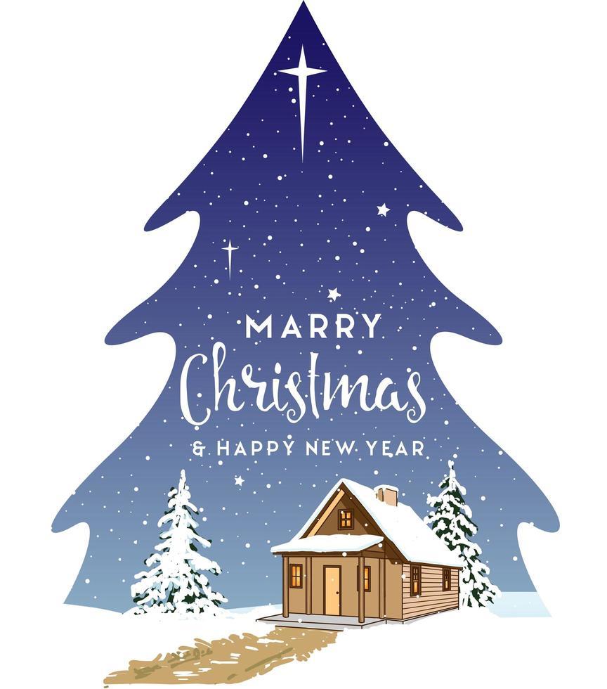 paisaje navideño en forma de árbol vector
