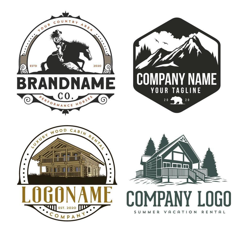 conjunto de logotipo al aire libre vector