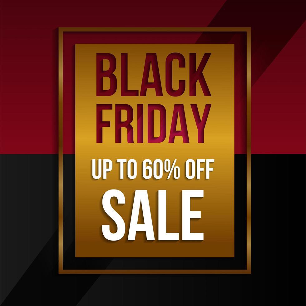 venta de viernes negro banner promocional dorado, rojo y negro vector