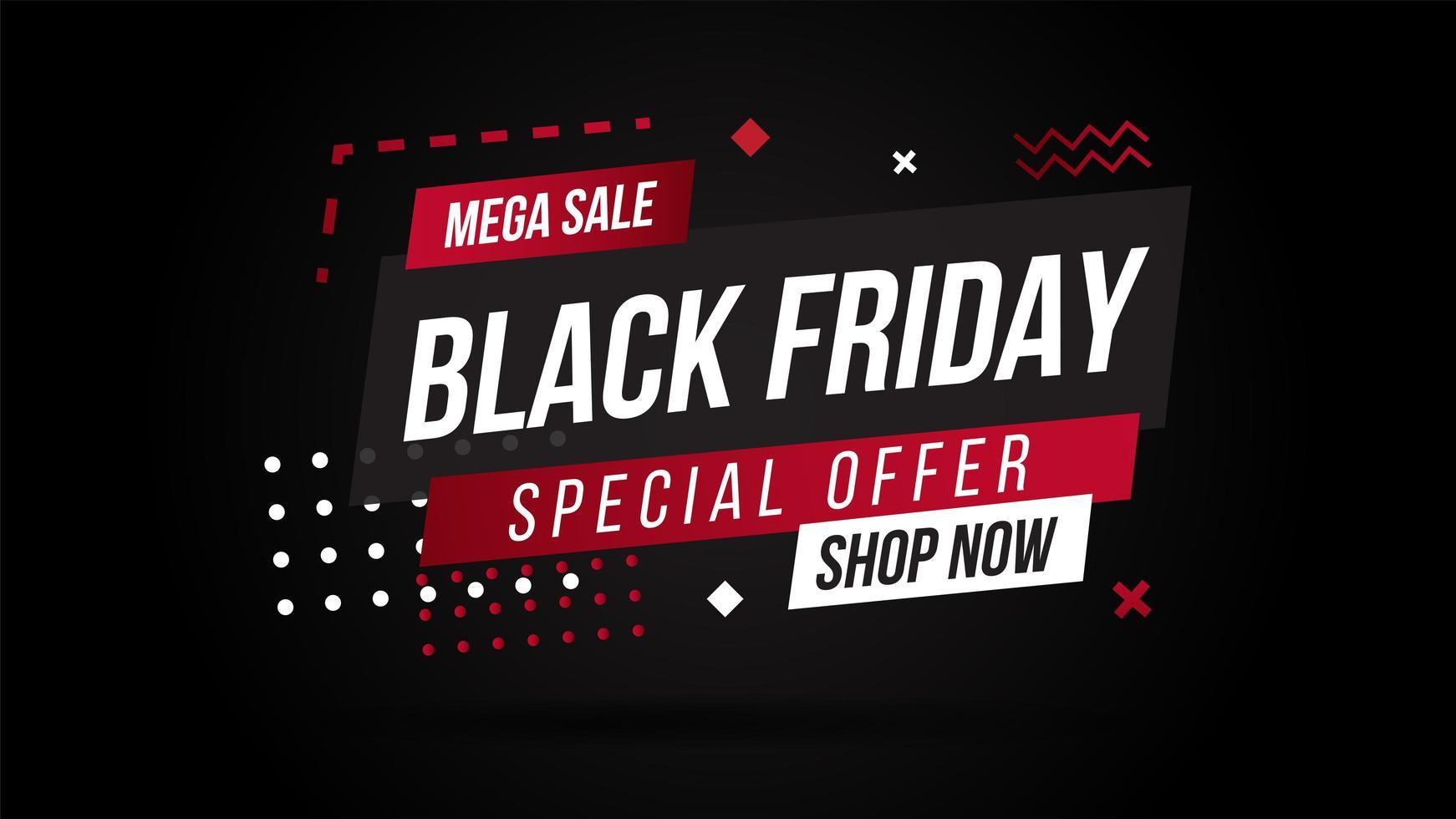 banner de venta de forma geométrica de viernes negro vector