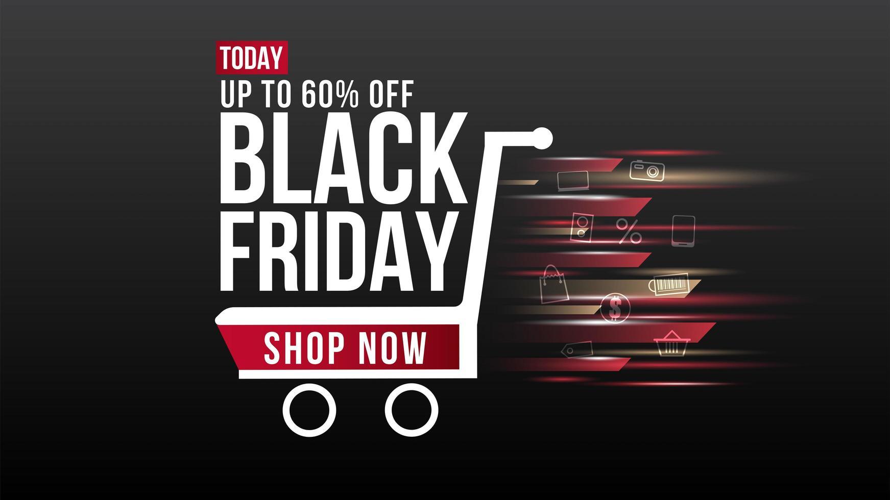 banner de venta de carrito de compras de desenfoque de viernes negro vector