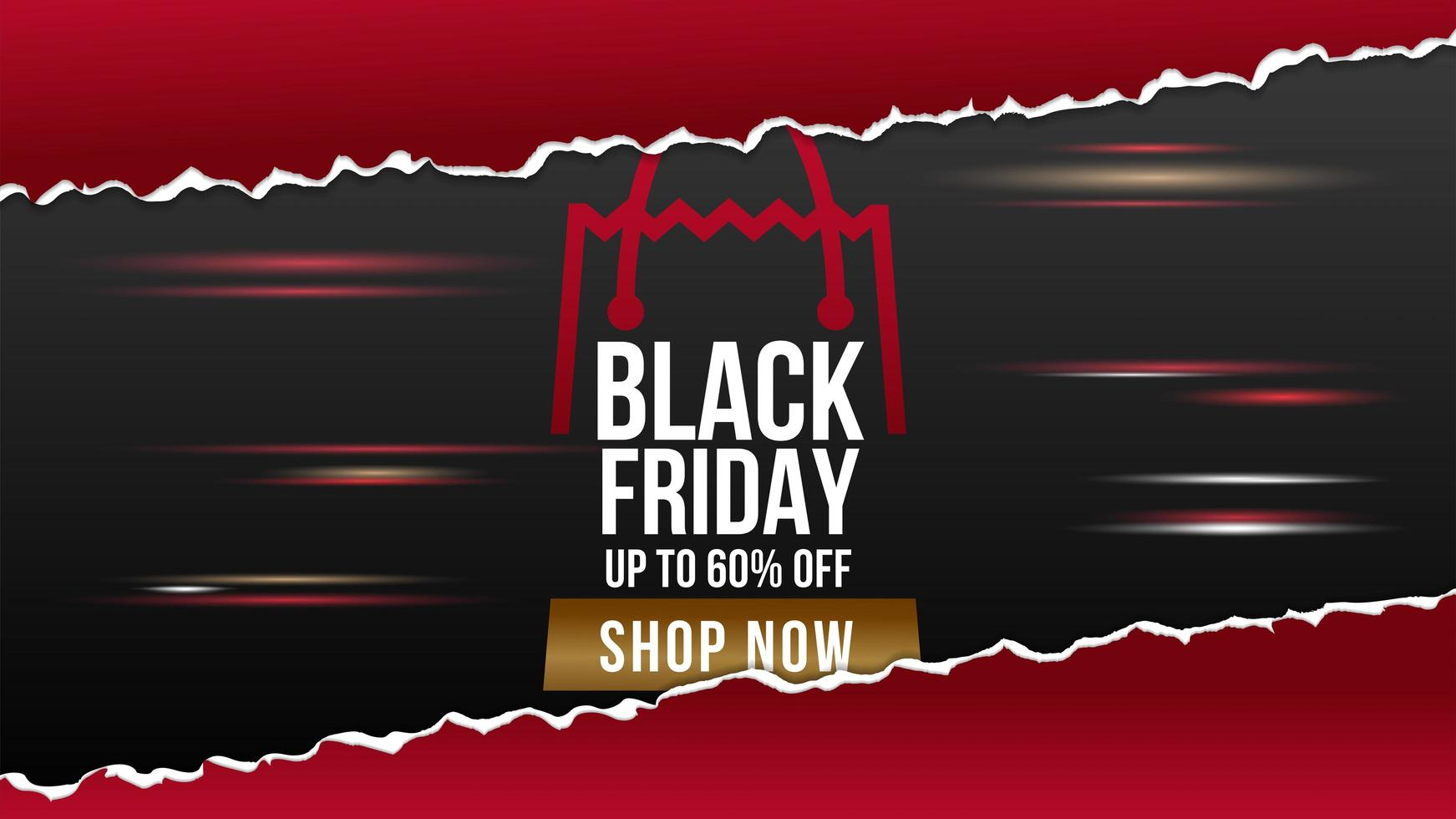 Black Friday ripped paper sale banner vector