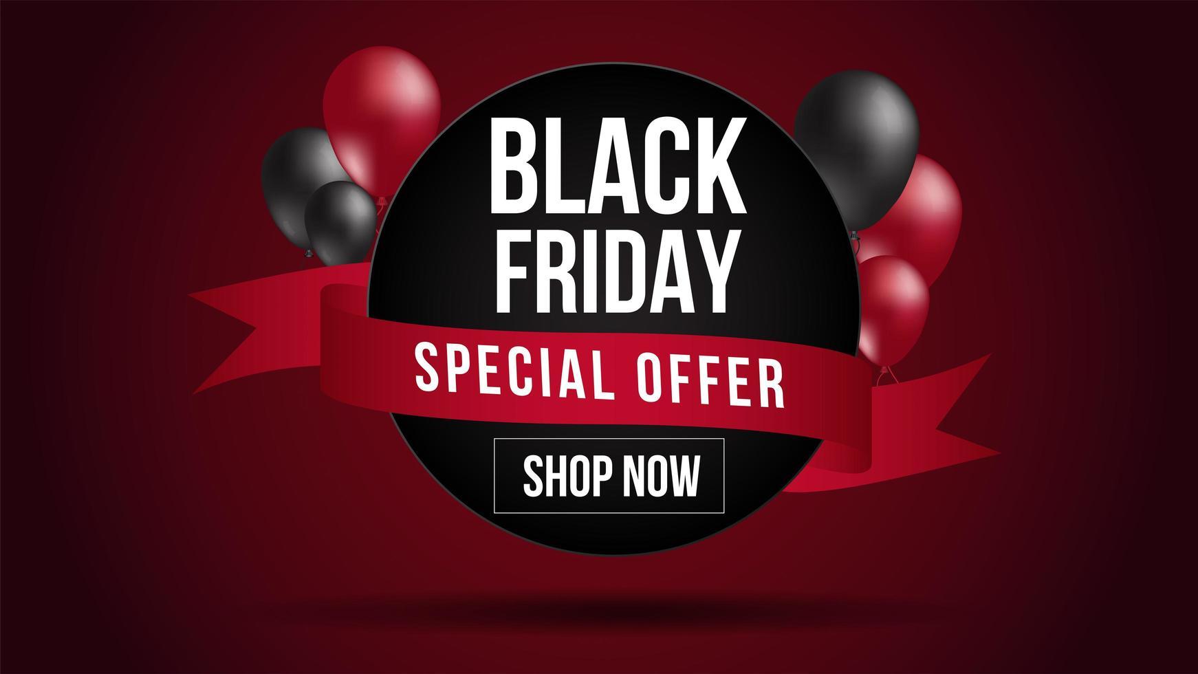 banner de venta de globos rojos y negros de viernes negro vector