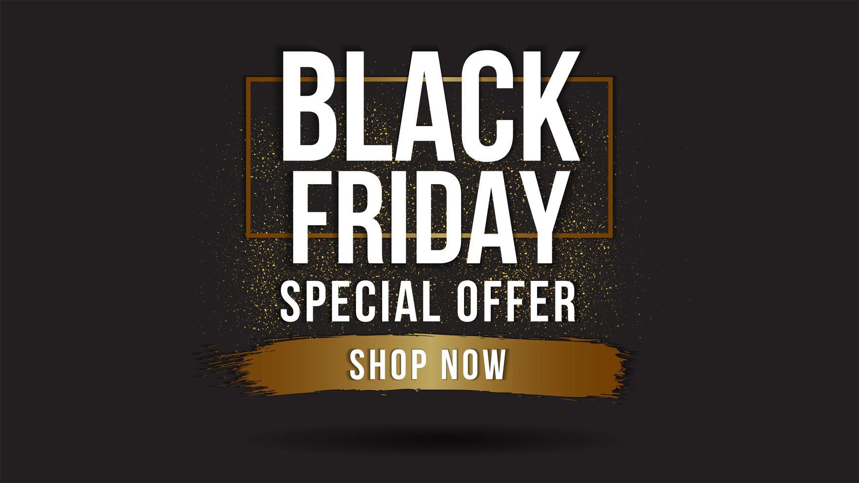 Banner de venta de viernes negro con detalles dorados. vector