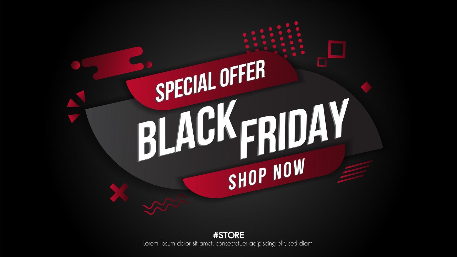 banner de venta geométrica de viernes negro vector