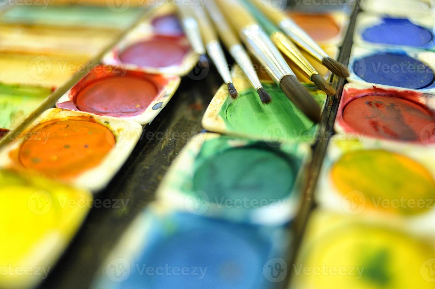 Watercolor palette and paintbrush photo