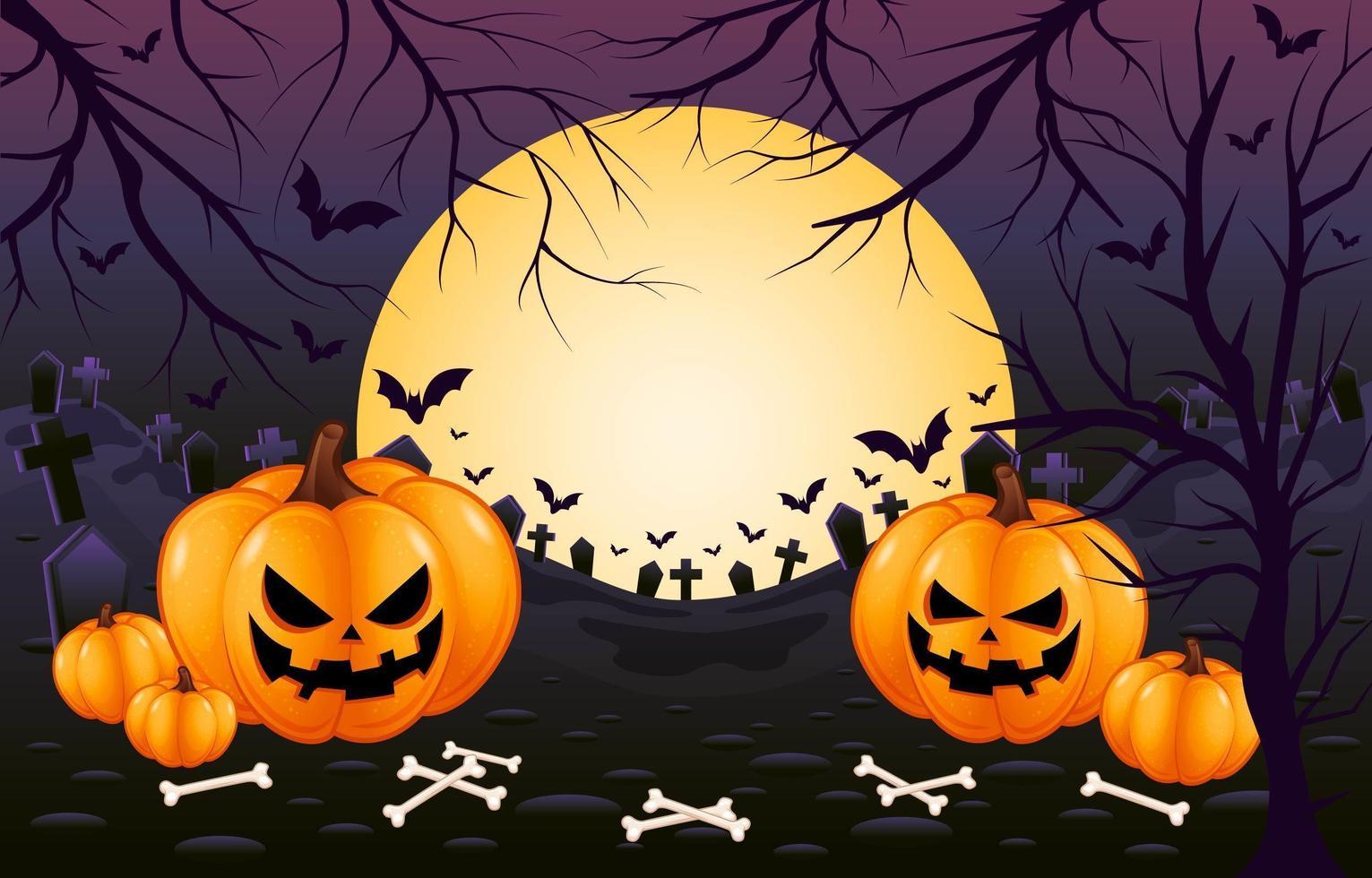 horror y espeluznante cementerio púrpura fondo de halloween vector