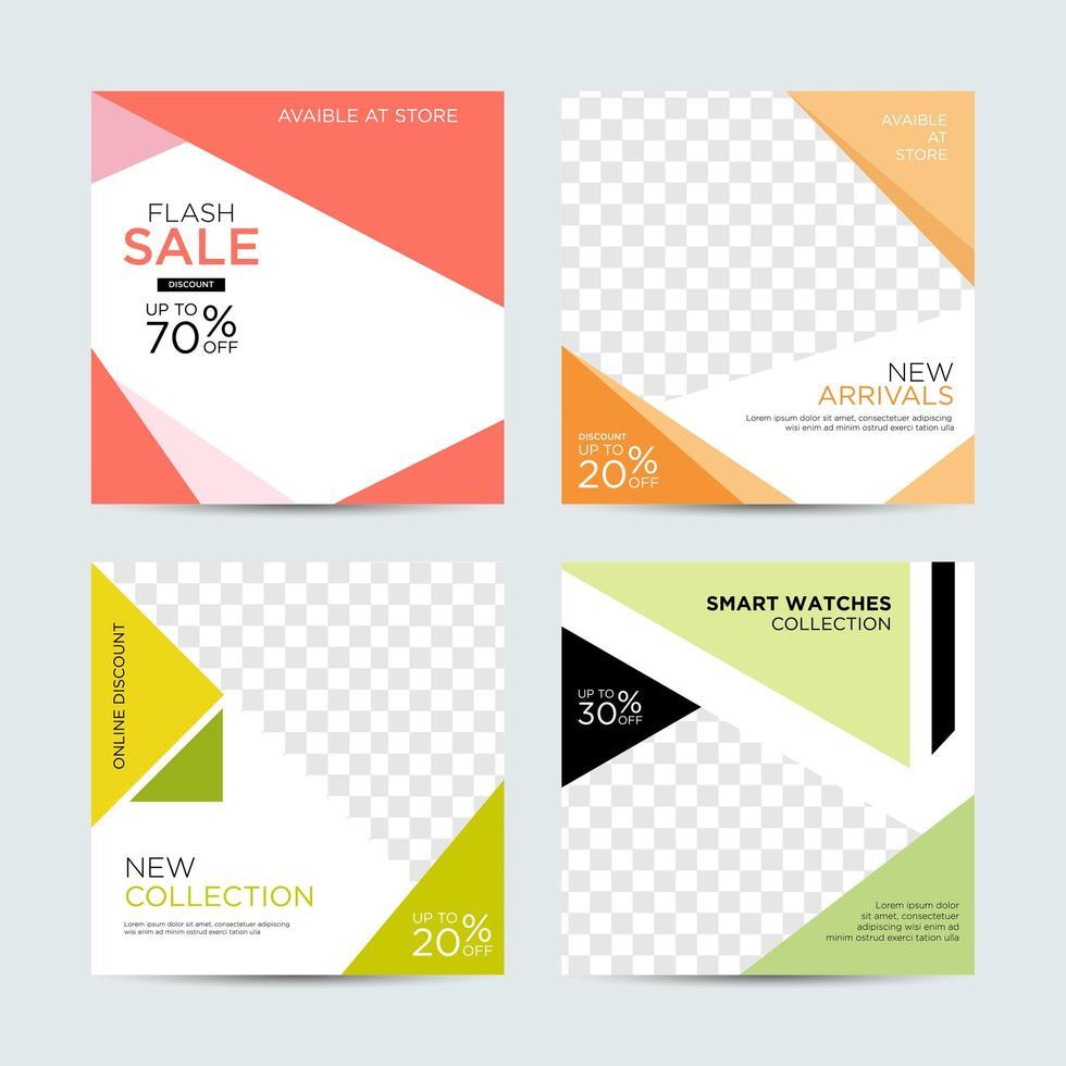 Banners de redes sociales editables para marketing digital. vector