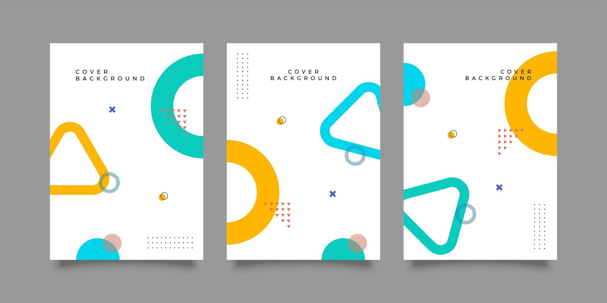 portada de revista con diseño geométrico colorido vector