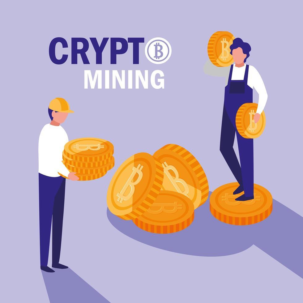 trabajadores en equipo cripto minería bitcoins vector
