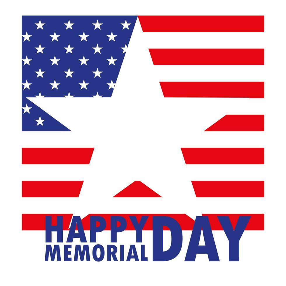 Feliz día de los caídos con estrella y bandera de EE. UU. vector