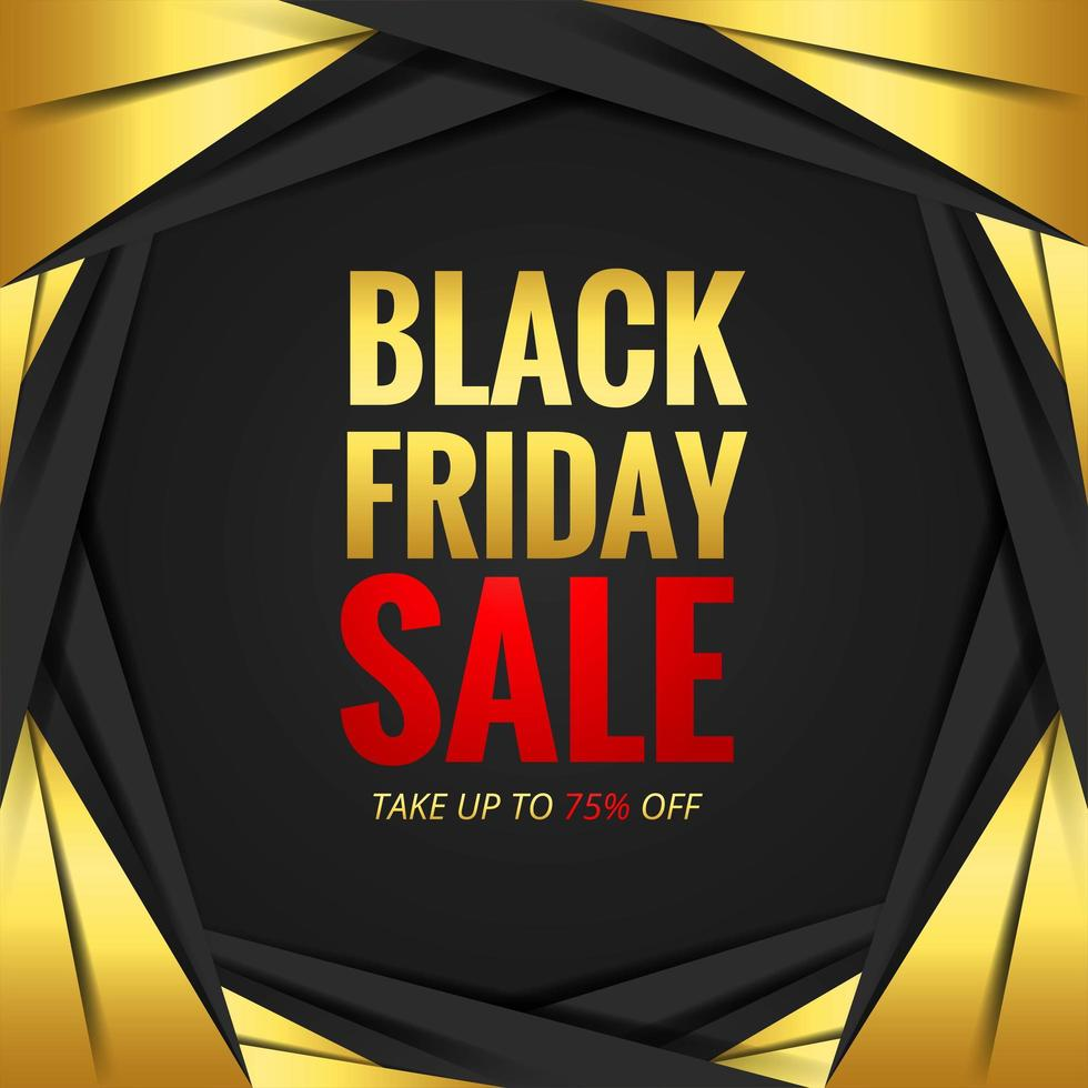 concepto de venta de viernes negro con marco de papel dorado vector