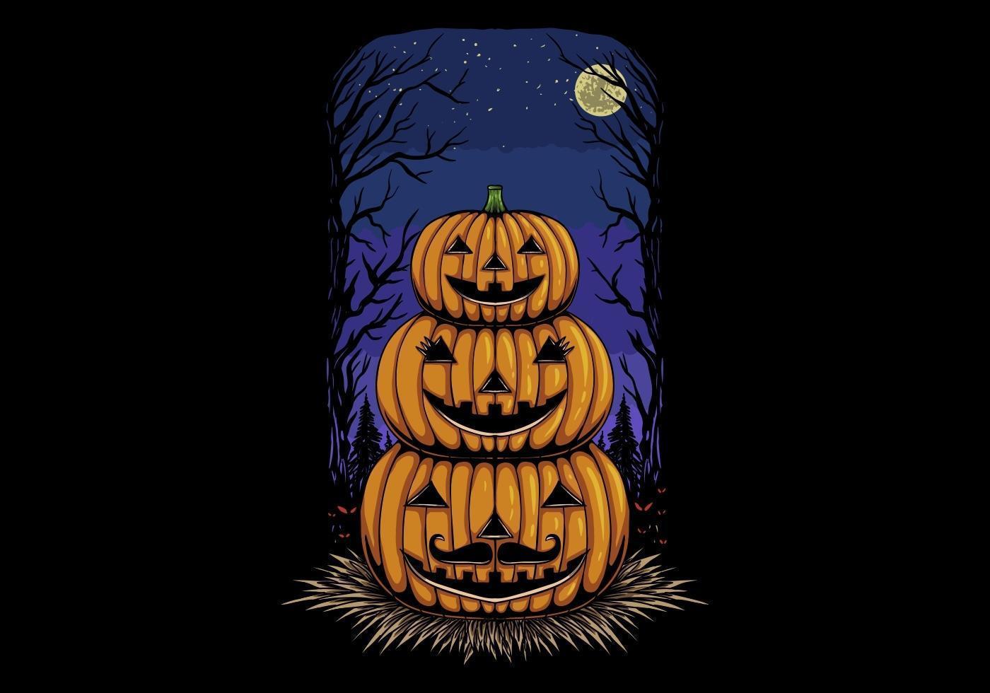 familia de cabeza de calabaza de halloween vector