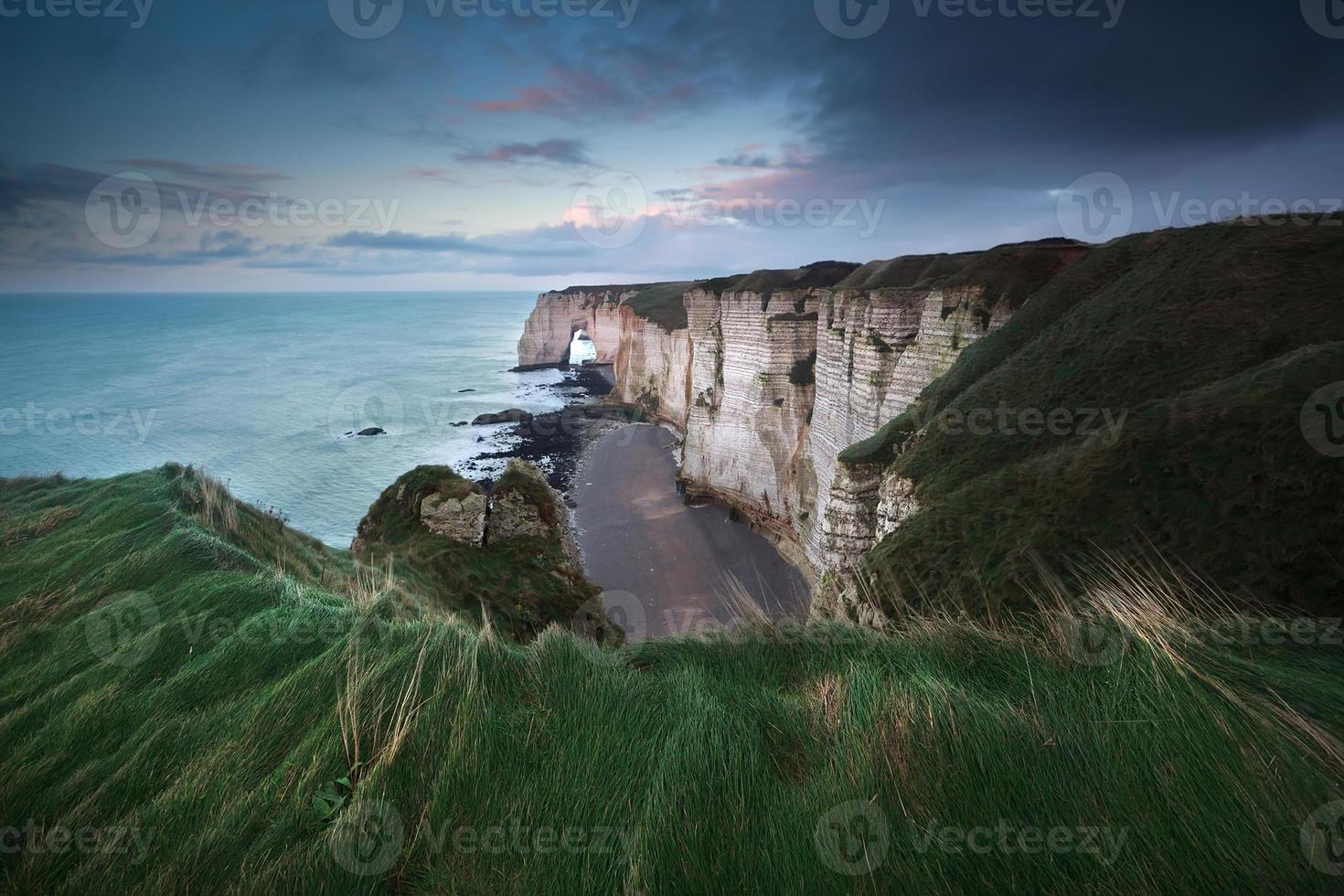 high cliffs on Atlantic ocean coast photo