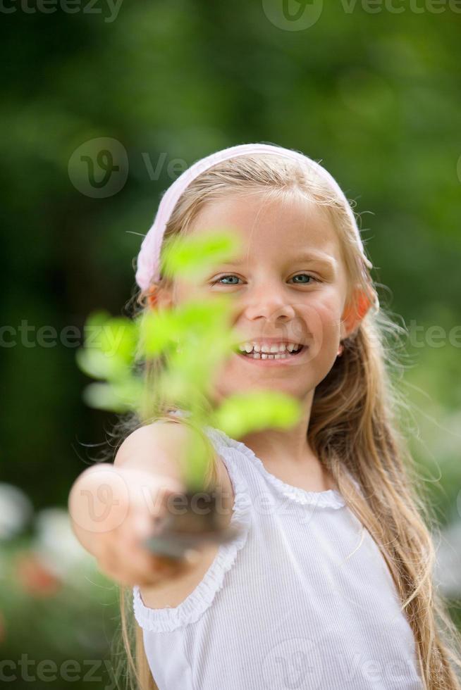Girl in garden planting herbs photo