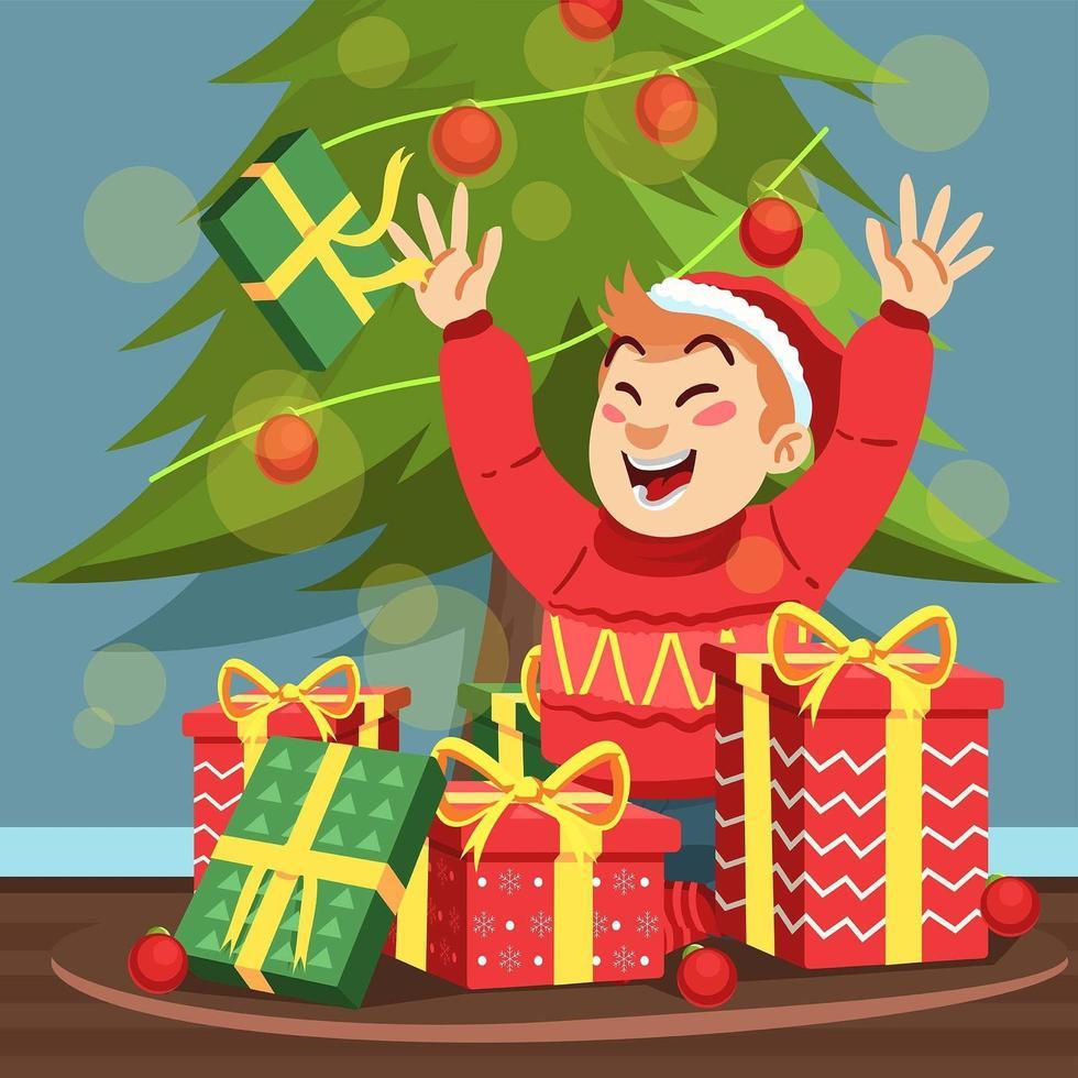 niño feliz recibiendo muchos regalos de navidad vector