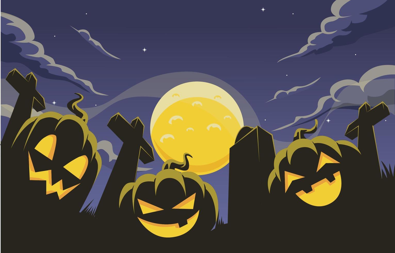 fundo de halloween com silhueta de jack-o'-lantern vetor