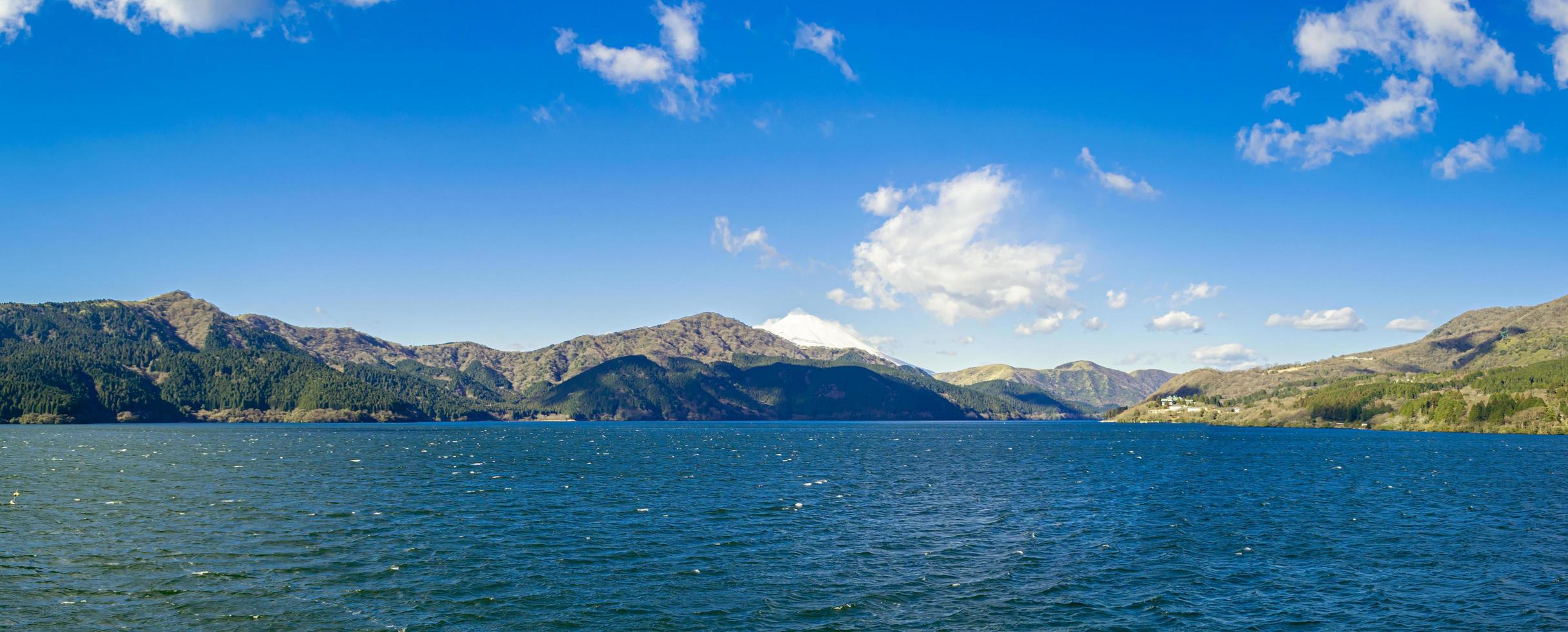 vista panorámica de un lago y montañas foto