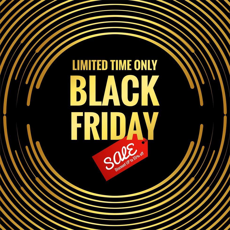 Black Friday golden circular lines background vector
