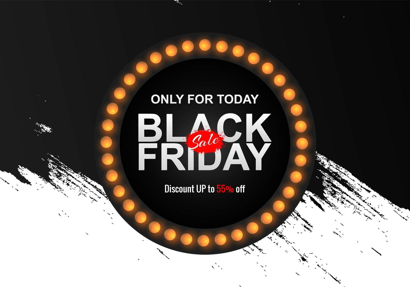 Black Friday Sale with Grunge Brush Background vector