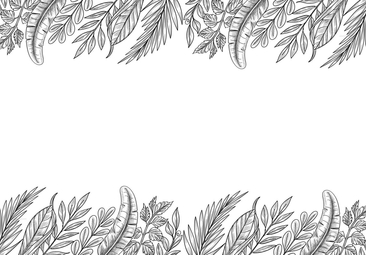 fondo de bosquejo de hoja de plantas tropicales dibujadas a mano vector