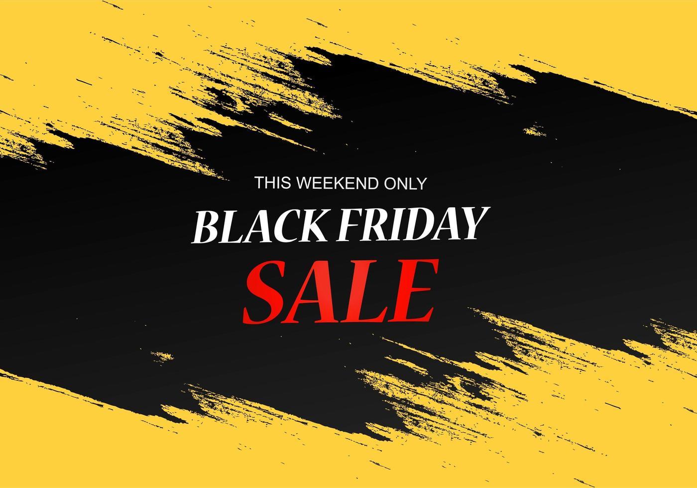 cartel de venta de viernes negro con diseño de pincel vector