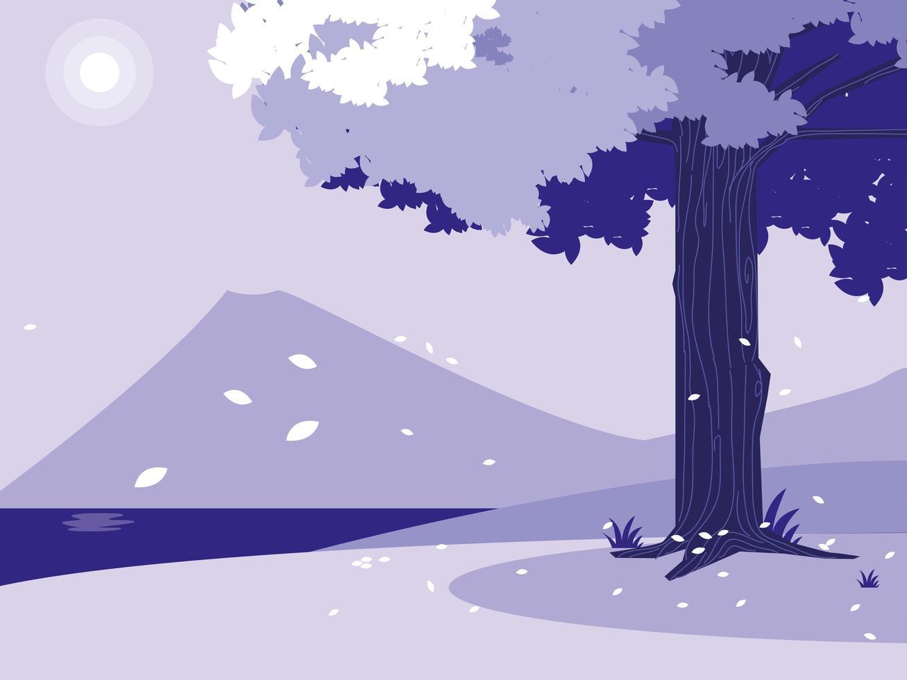 paisaje creativo con árbol púrpura escena vector