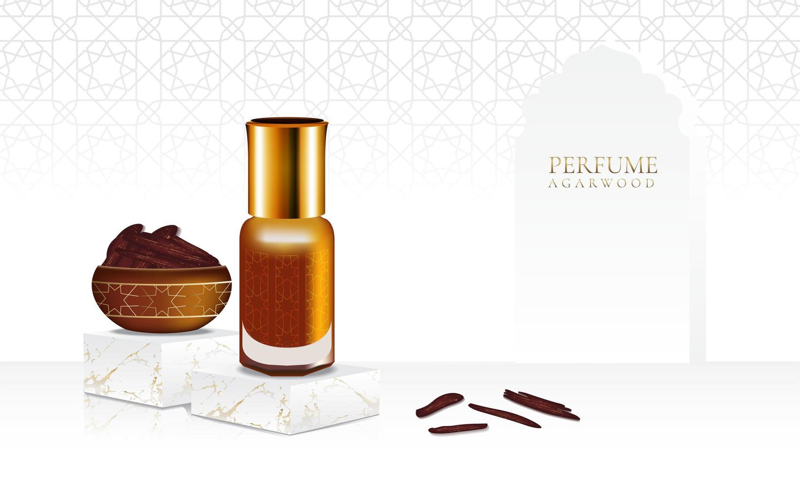Perfume de madera de agar sobre soporte de mármol con botella aislante vector