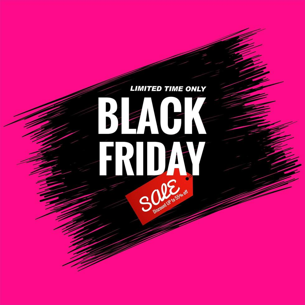 Black Friday sale card with lines background vector