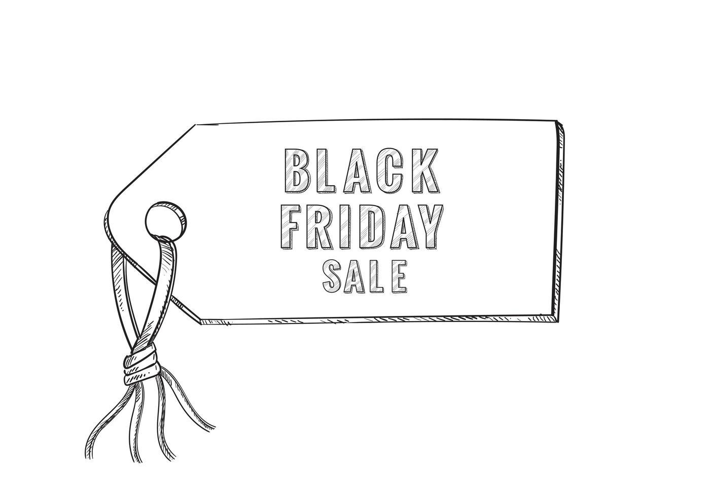 Fondo de etiqueta de boceto de venta de viernes negro vector
