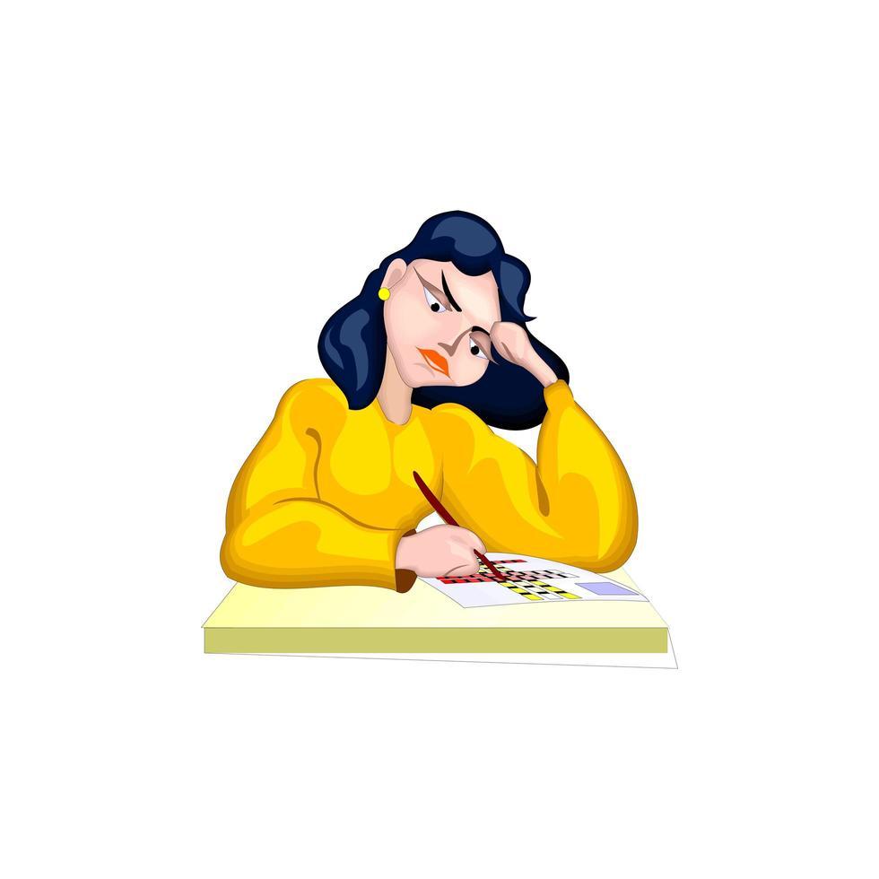 Girl doing homework on white background vector