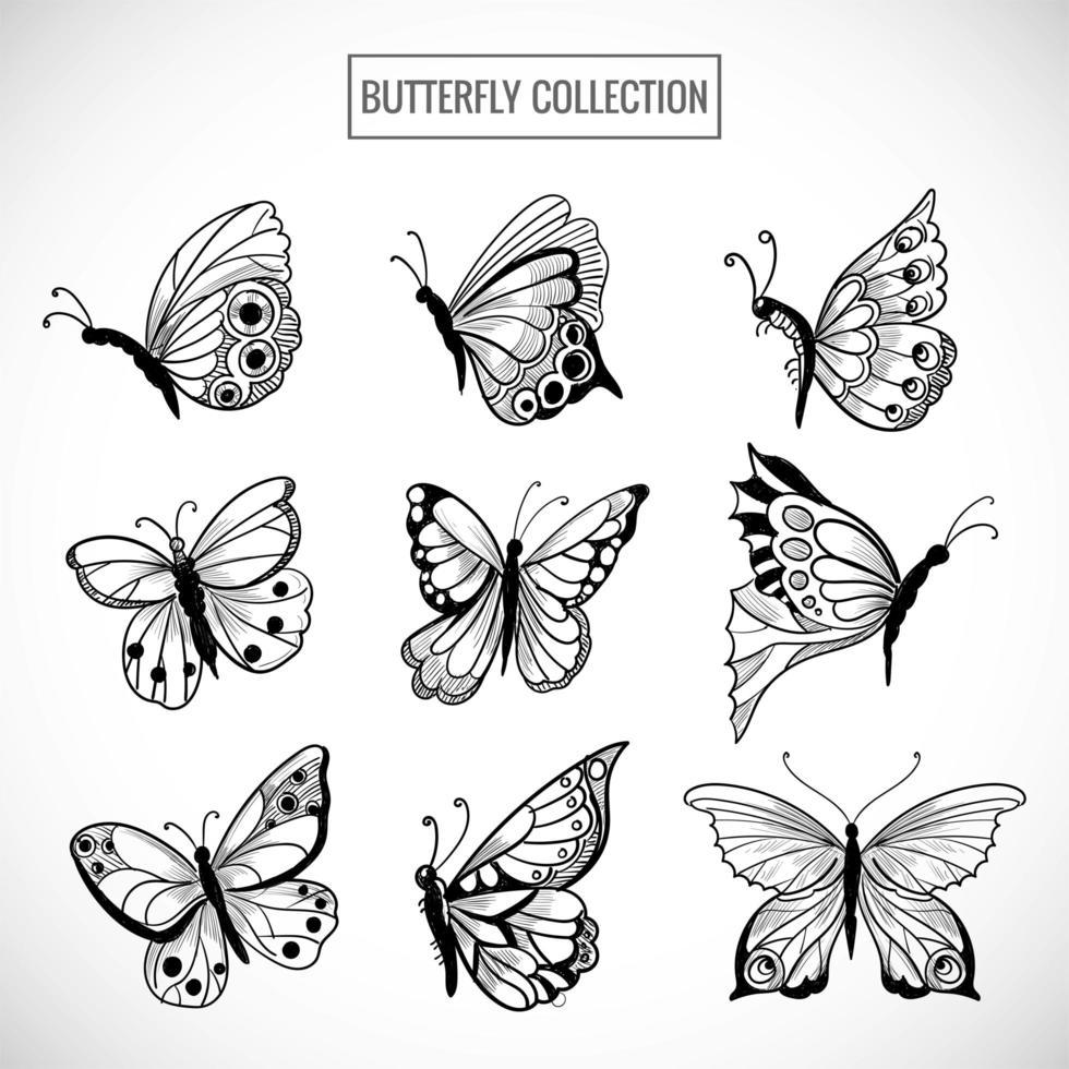 colección dibujada a mano de bonito diseño de mariposas vector