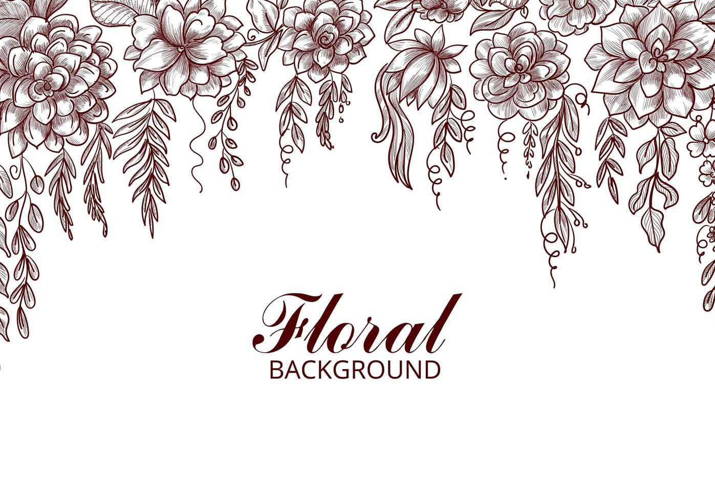 Decorative Hand Drawn Flower Sketch Background vector