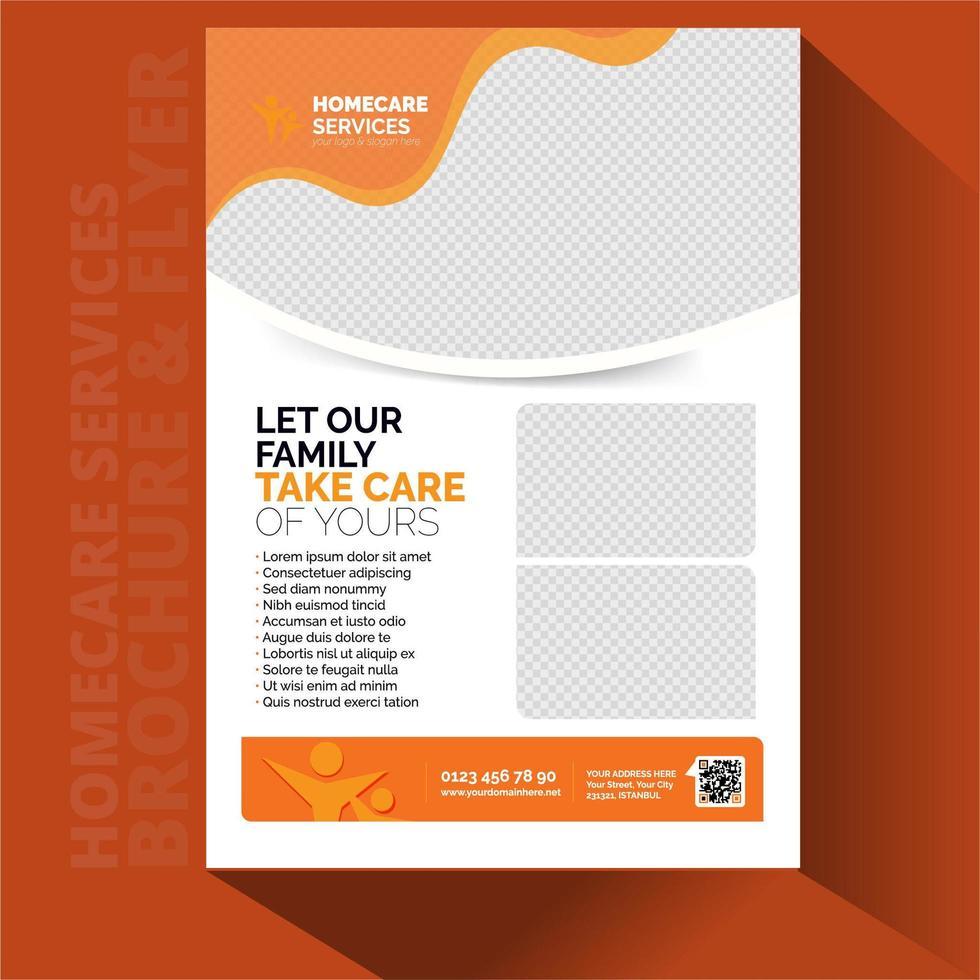 Conjunto de tarjetas de folleto de atención domiciliaria. vector